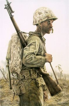 """""""The Grim Face of War U. Marine Corps, South Pacific"""" by Michael Gnatek. Signed, limited edition print available at the R. Military Art, Military History, Ww2 Uniforms, Military Uniforms, Ddr Museum, War Photography, Us Marine Corps, Us Marines, The Grim"""