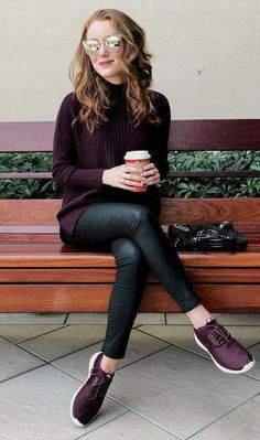 #winter #fashion /  Purple Knit & Sneakers