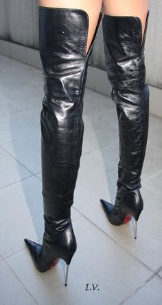 Black leather stiletto thigh boots