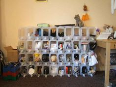 How to make DIY modular storage bins out of recycled water jugs step by step tutorial instructions Yarn Storage, Storage Bins, Storage Solutions, Modular Storage, Storage Ideas, Cheap Storage, Shoe Storage, Craft Storage, Storage Rack