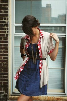 solid dress + open plaid/gingham shirt + solid cardigan + belt