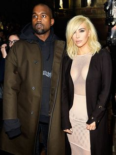 Kanye West and Kim Kardashian in that now infamous mesh + granny panties dress at the Lanvin F/W '15 show // Paris Fashion Week
