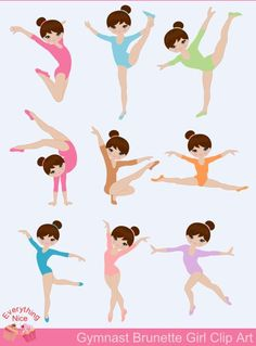 Brunette, Light Brown skin tone Gymnastics / Brunette Gymnast Girl Clip Art