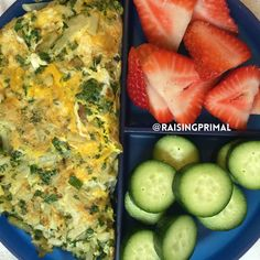 Farm fresh egg omelette with kale, chicken and apple sausage, and hash browns; fresh fruit; baby cucumber slices