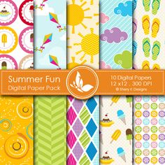 Summer Fun  This listing is for 10 printable High Quality Digital papers.    Each paper measures 12 x 12 inch, 300 DPI, JPEG format.    Great for book and photo album covers, gift wraps, bookmarks, scrapbooking, invitations and making cards, stationary, labels and tags,jewelry, collages, stickers, photographers.