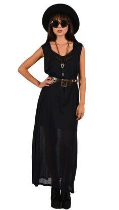Vintage 90s Black Crochet Sheer Maxi Dress by saltwatergypsy, $65.00