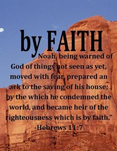 Heb. 11:7 By faith Noah, having been divinely instructed concerning things not yet seen and being moved by pious fear, prepared an ark for the salvation of his house, through which he condemned the world, and became heir of the righteousness which is according to faith. Read more via, www.agodman.com