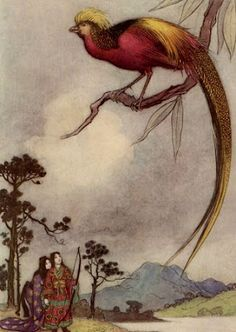 Warwick Goble - Green Willow and other Japanese Fairy Tales, by Grace James, 1910 - 22 of 41 (The Singing Bird of Heaven) Warwick Goble, Scrapbook Blog, Indian Theme, 22 November, Children's Book Illustration, Book Illustrations, Japanese Prints, Japanese Style, Magazine Art