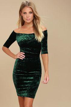 d4d17133d1 Wrapped Up In You Forest Green Velvet Off-the-Shoulder Dress
