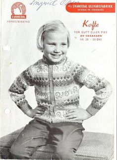 Kofte for gutt eller pike O 38 - Svanedal Vintage Knitting, Baby Knitting, Norwegian Knitting, North Sea, Knitwear, Knitting Patterns, Baby Kids, Design Inspiration, Crafty