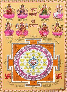Ashtalakshmi and Sri Yantram - Hindu Posters (Reprint on Paper - Unframed) Shiva Parvati Images, Lakshmi Images, Shiva Shakti, Maa Kali Images, Shri Ganesh Images, Shiva Hindu, Hindu Art, Saraswati Goddess, Goddess Lakshmi