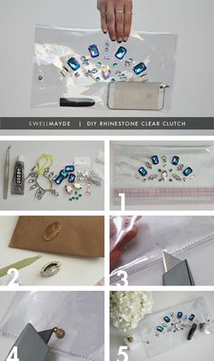 Materials: - DIY clear clutch - variety of loose rhinestones/rhinestones from a jewelry - e6000 adhesive - bbq stick or wooden chopstick - wire cutter - 2 button studs - box cutter - ruler - sewing machine - sewing thread