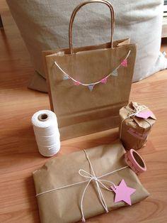 Petits Cadeaux Kraft Masking Tape Ficelle Guirlande Fanions Étoiles