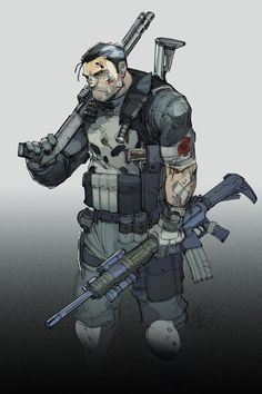 Some Quick Colors On My Punisher Sketch. The Punisher