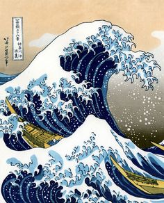 The Great Wave off Kanagawa is a woodblock print by the Japanese artist Hokusai. An example of ukiyo-e art, it is the first in Hokusai's series Thirty-six Views of Mount Fuji, and is his most famous work. Japanese Waves, Japanese Prints, Art Asiatique, Great Wave Off Kanagawa, Arte Sketchbook, Art Japonais, Japanese Painting, Japanese Artwork, Chinese Painting