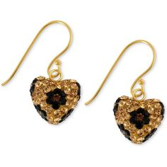Betsey Johnson Antique Gold-Tone Crystal Leopard Heart Drop Earrings ($38) ❤ liked on Polyvore featuring jewelry, earrings, betsey johnson, no color, betsey johnson earrings, antique gold jewelry, betsey johnson jewelry, heart jewelry and crystal heart earrings