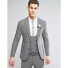 ASOS WEDDING Super Skinny Suit Jacket in Mini Check In Grey (144,125 KRW) ❤ liked on Polyvore featuring men's fashion, men's clothing, grey, mens beach wedding apparel, tall mens clothing and asos mens clothing