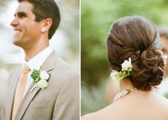 The groom wore a Canali suit with a peach tie and white roses as his  boutonniere. The bride's hairpiece matched her groom's white flowers,  although hers were tucked into an elegant bun.