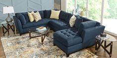 Cindy Crawford Home Metropolis Way Sapphire Microfiber 3 Pc Sectional - Rooms To Go Furniture, Leather Living Room Set, Family Room Decorating, Rooms To Go Furniture, Home, Cindy Crawford Home, Home Furniture, Sectional, Affordable Furniture Stores