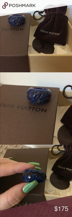 RARE Authentic Louis Vuitton Blue Leomonogram Ring 💙RARE Authentic Louis Vuitton Leomonogram ring in dark blue. Made of lacquered carved mahogany wood. 💙Marked size M/medium. Sized on my ring sizer, it's about a 6.5. 💙Date code is GA0079 (I believe it was made in France in the 7th week of 2009) 💙Nearly brand new, no wear/chips, etc. I think I only wore this once, if at all!  💙Comes with box and dustbag but NO receipt as I haven't found it yet, sorry.   ‼️Price is FIRM due to the 20%…