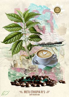 Metu Ethiopia N 3 Coffee Poster Coffee Girl, My Coffee, Coffee Shop, Coffee Illustration, Collage Illustration, African Image, Digital Art Fantasy, Coffee Plant, Coffee Poster