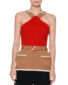 Knit Colorblock Halter Top, Red/Brown