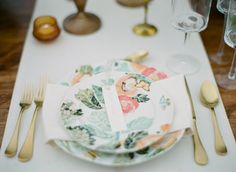 Floral + gold place setting