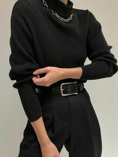 Black trousers with black turtleneck perfect for everyday looks in 2020 Retro Outfits, Mode Outfits, Grunge Outfits, Cute Casual Outfits, Fall Outfits, Fashion Outfits, Summer Outfits, School Outfits, Stylish Outfits