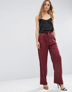 Image 1 - ASOS - Pantalon fluide luxueux avec ceinture à nouer