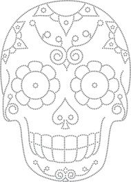 Desenho Caveira Mexicana - Would so use this as a template to carve a pumpkin Mexican Embroidery, Beaded Embroidery, Embroidery Stitches, Embroidery Patterns, Hand Embroidery, Skull Coloring Pages, Coloring Books, Tattoo Crane, Skull Template