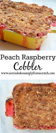 Peach Raspberry Almond Cobbler is an easy to make dessert.