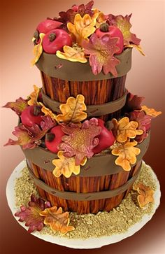 """""""Autumn Apples"""" Cake    Click on the photo to see a preview of this how to video set!    This incredible cake brings the best of Autumn indoors. It is so real looking that you can smell the apples!    Susan Carberry created """"Autumn Apples"""" to capture the season and give you a beautiful cake to create for any occasion - from elaborate dinners to catered affairs to Thanksgiving holiday affairs."""