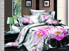 Lovely Colorful Flowers Printed 4 Piece Cotton Comforter Sets  3D Bedding Sets