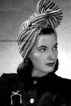 Caterpillar turban (in correct colour Mode Turban, Turban Hat, Turban Style, Turban Headbands, Look Vintage, Vintage Colors, Vintage Hats, Vintage Glamour, Vintage Knitting