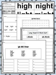 Spelling Pattern igh - A Week of Lesson Plans, Activities, and Word Work!