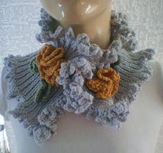 Knit Ruffle/Flowers Scarf by ozlemdesign on Etsy