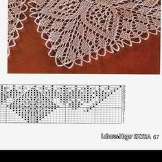 Knitting Charts, Lace Knitting, Knitting Stitches, Knitting Patterns, Crochet Doily Patterns, Bead Loom Patterns, Crochet Doilies, Knitted Shawls, Crochet Shawl
