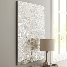 Mosaic Mirror Wall Decor this dramatic wall panel finished in antique white is very heavy