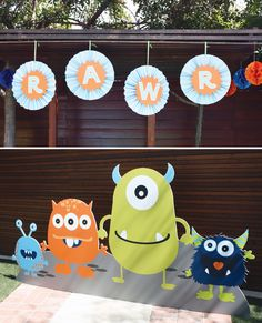 Paper lanterns and sticky foam diy monster party decorations asher