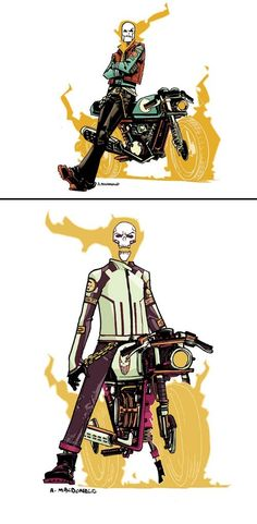 I'd read this version in a heart beat! Andy MacDonald Drew A Punk Rock Ghost Rider Marvel Dc, Marvel Heroes, Captain Marvel, Marvel Comics Art, Anime Comics, Andy Macdonald, Comic Character, Character Design, Ghost Rider Marvel