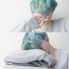 vibrant locks // hair // colour // hair dye // bright // aesthetic // grunge // pastel // green // blue // pale