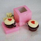 1 Window Pink Cupcake Box w finger hole ($1.05/pc x 25 units)