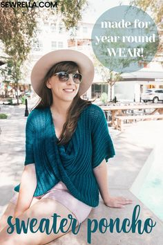 The twist swancho is a sweater and poncho combined! It's perfect for layering, making it easy and accessible to wear throughout all the seasons. Layer it with a tank for the summer, and long sleeve tee for fall and winter! #crochet #sweater #poncho #crochetsweater #crochetponcho #crochetsweaterponcho #freepattern #easypattern #forbeignners #diy #howto #sewrella #clothes #corchetclothes #yearroundgarment #garments #crochetgarments