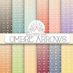 """Arrow digital paper: """"OMBRE ARROWS"""" with arrow pattern, arrow printable for scrapbooking, party, invitations, cards - instant download #download #shabby"""