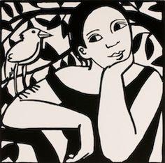 Anita Klein - 'The Strange Bird' (Woodcut - 'Uccelli' series)