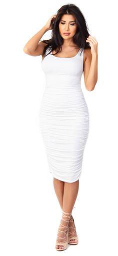White Ruched Midi Dress