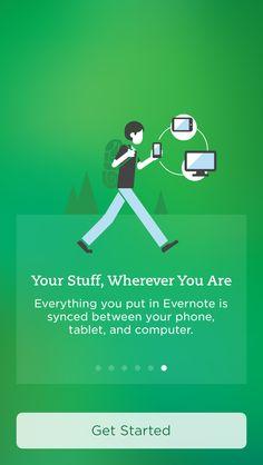 Evernote App Mobile App Ui, Mobile App Design, Login Page Design, Ui Buttons, Welcome Design, Splash Screen, Evernote, Screen Design, Ui Inspiration