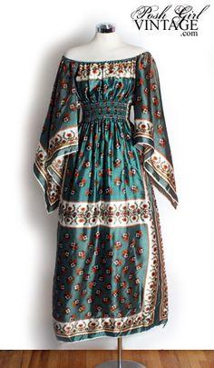 1960's maxi scarf dress