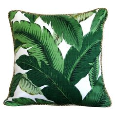 Tropical Green Palm Banana leaf Outdoor Cushion or Pillow Cover with piping sq on Etsy Green Cushions, Outdoor Cushions, Outdoor Fabric, Outdoor Pillow, Cushion Covers, Pillow Covers, Nature Verte, Cushion Fabric, Cushion Pillow