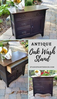 This lovely Antique Painted and Refinished Oak Wash Stand, Painted Furniture, Milk Paint, Antique Walnut Gel Stain, DIY, Ideas, Inspiration, Antique Furniture, Java Gel Stain #studiopaintdesign #paintedfurniture #javagelstain #milkpaint #generalfinishes #